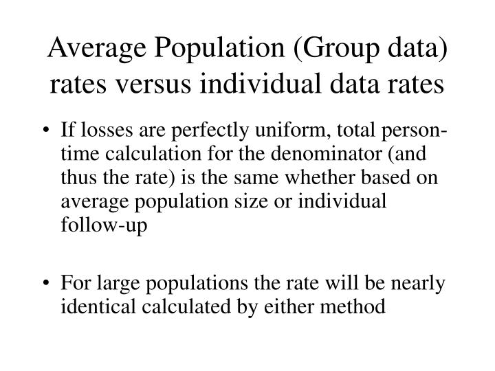 Average Population (Group data) rates versus individual data rates