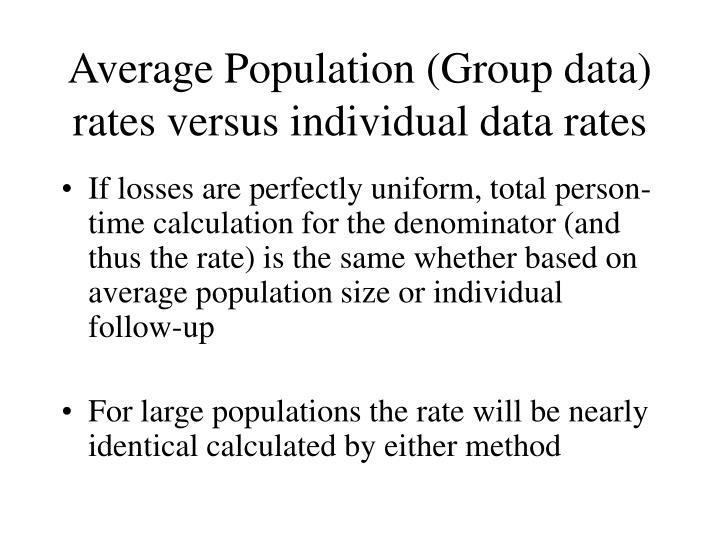 Average Population (Group data) rates versus individual data rates