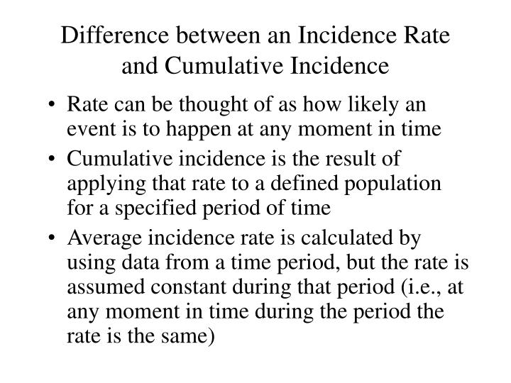 Difference between an Incidence Rate and Cumulative Incidence