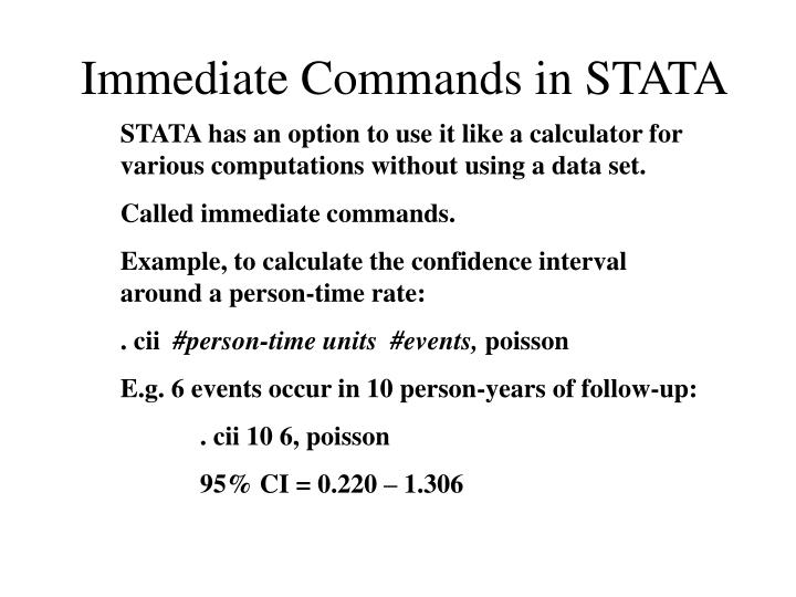 Immediate Commands in STATA