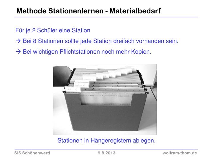 Methode Stationenlernen - Materialbedarf