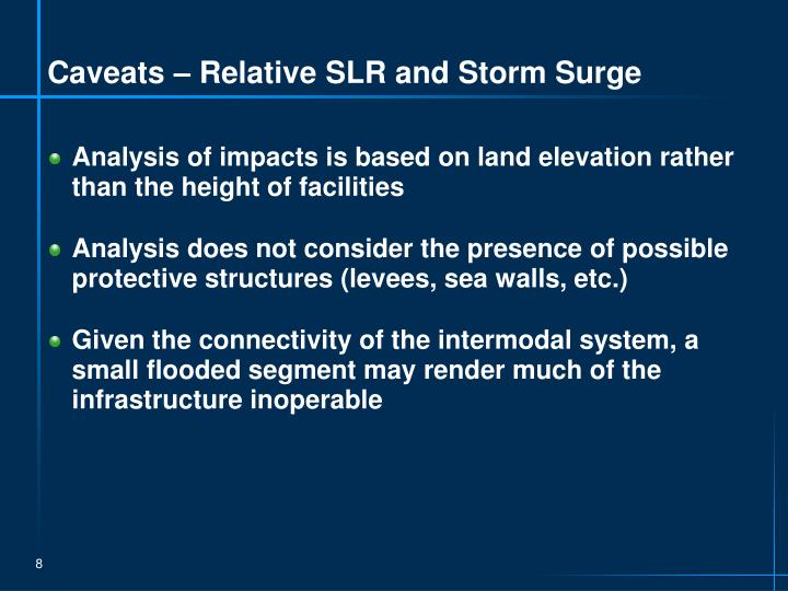 Caveats – Relative SLR and Storm Surge