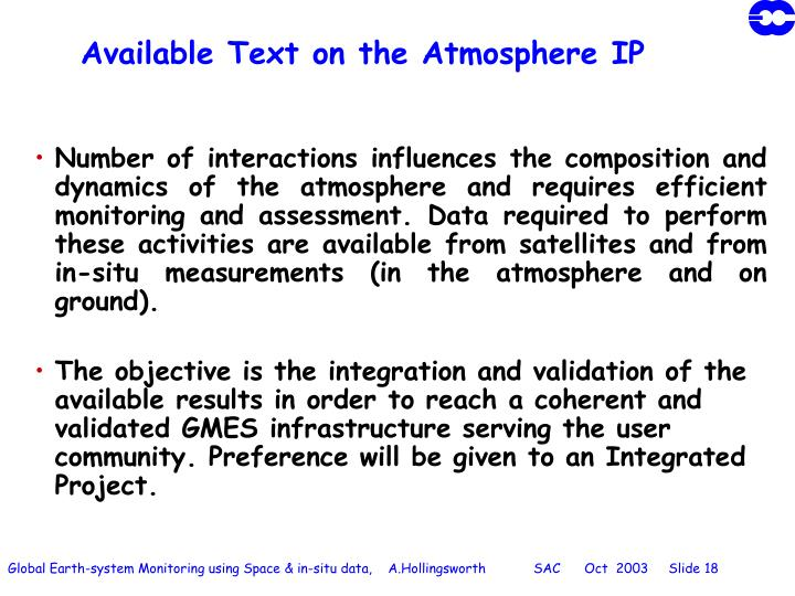 Available Text on the Atmosphere IP