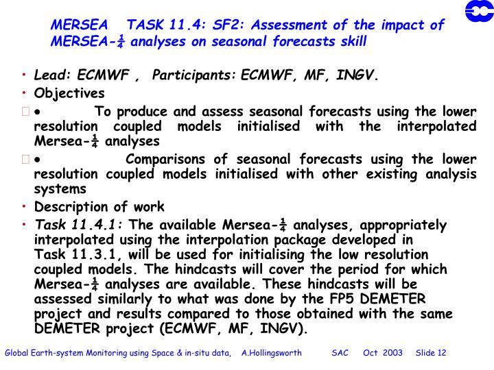 MERSEA   TASK 11.4: SF2: Assessment of the impact of MERSEA-¼ analyses on seasonal forecasts skill
