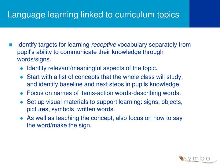 Language learning linked to curriculum topics