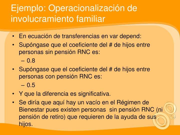 Ejemplo: Operacionalización de involucramiento familiar