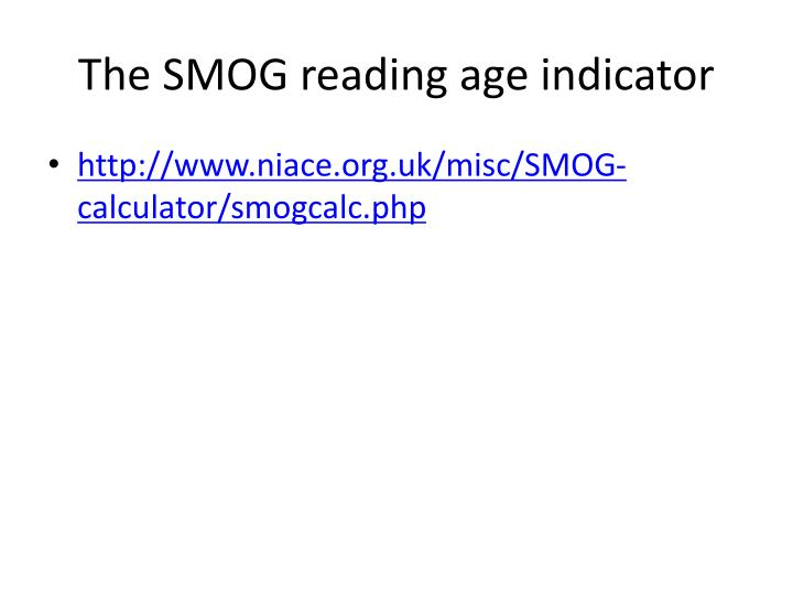 The SMOG reading age indicator