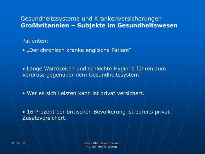 Gesundheitssysteme und Krankenversicherungen