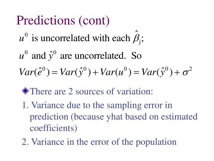Predictions (cont)
