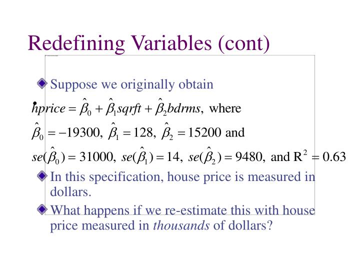Redefining Variables (cont)