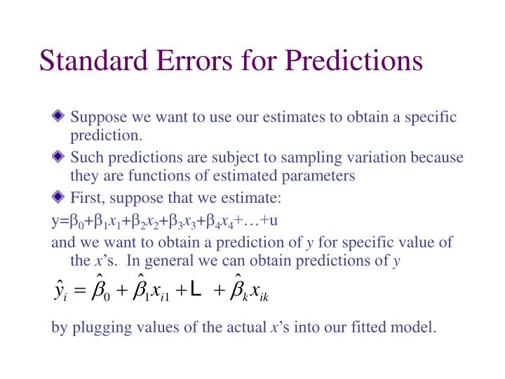 Standard Errors for Predictions
