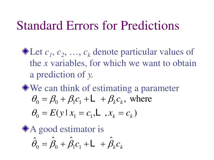 Standard Errors for Predictions