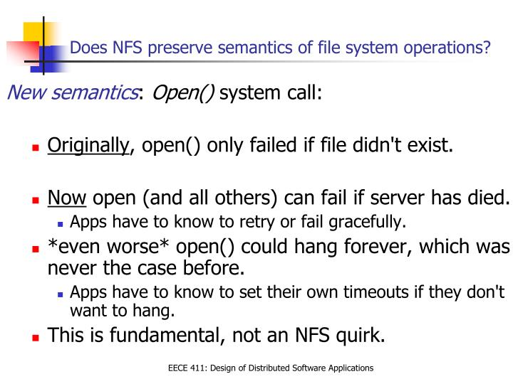 Does NFS preserve semantics of file system operations?