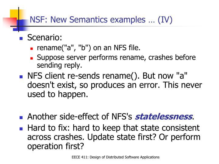 NSF: New Semantics examples … (IV)