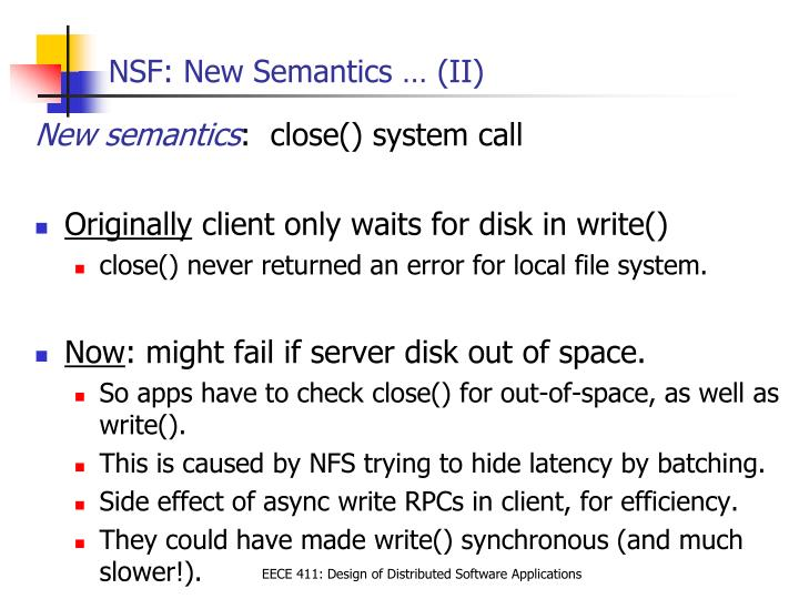 NSF: New Semantics … (II)