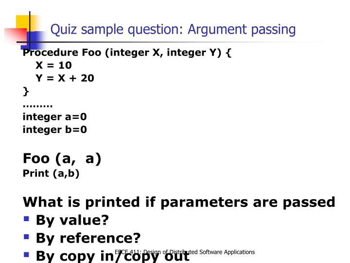 Quiz sample question: Argument passing