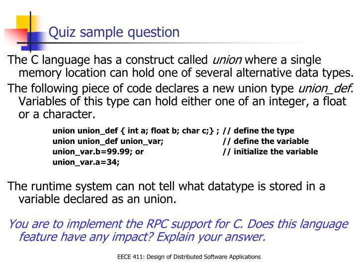 Quiz sample question