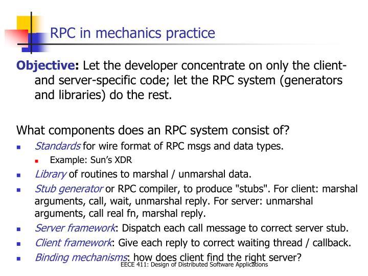 RPC in mechanics practice