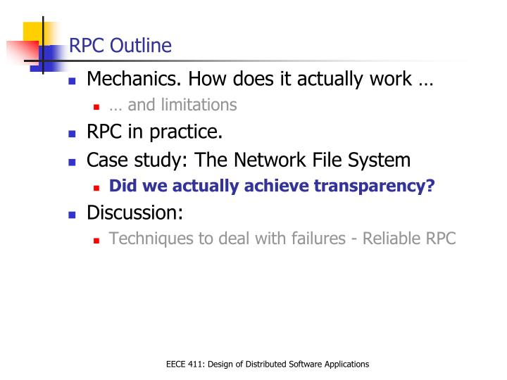 RPC Outline
