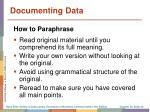 documenting data2