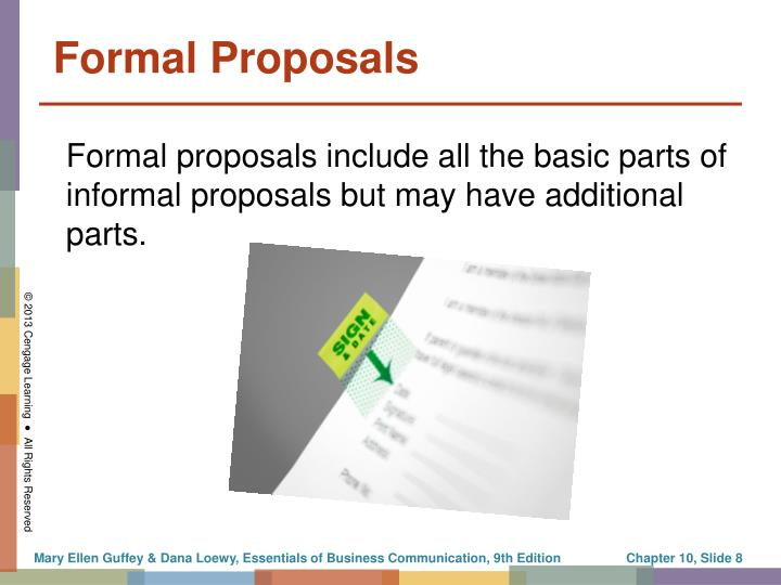Formal proposals include all the basic parts of informal proposals but may have additional parts.