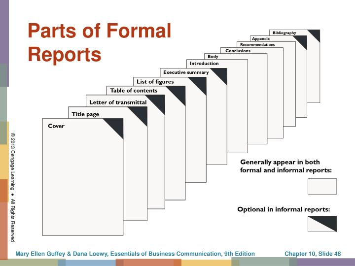 Parts of Formal Reports