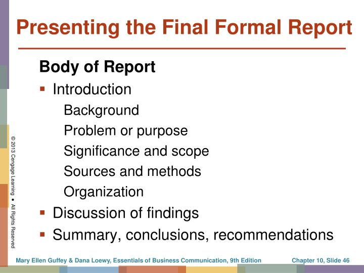 Presenting the Final Formal Report