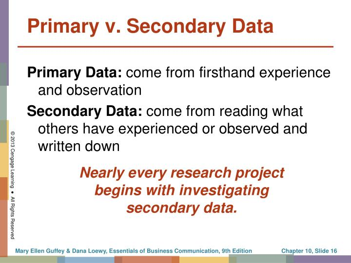 Primary v. Secondary Data