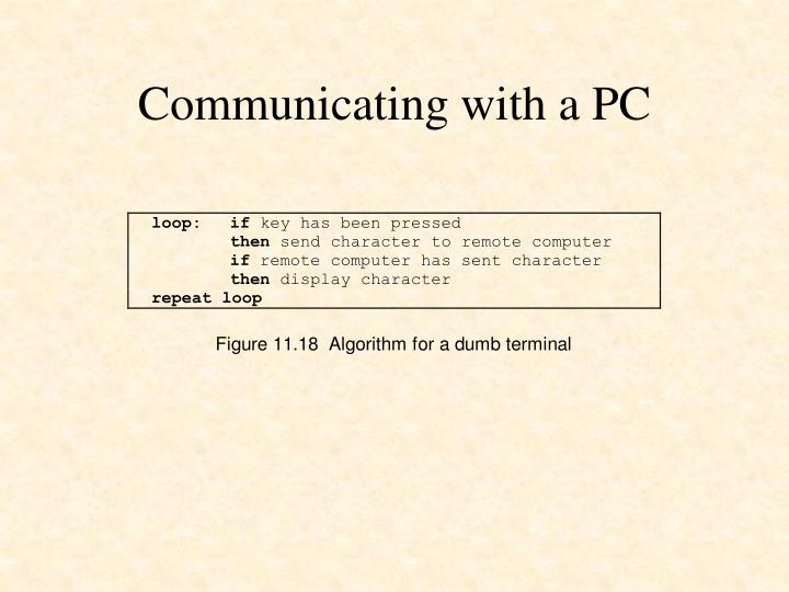 Communicating with a PC