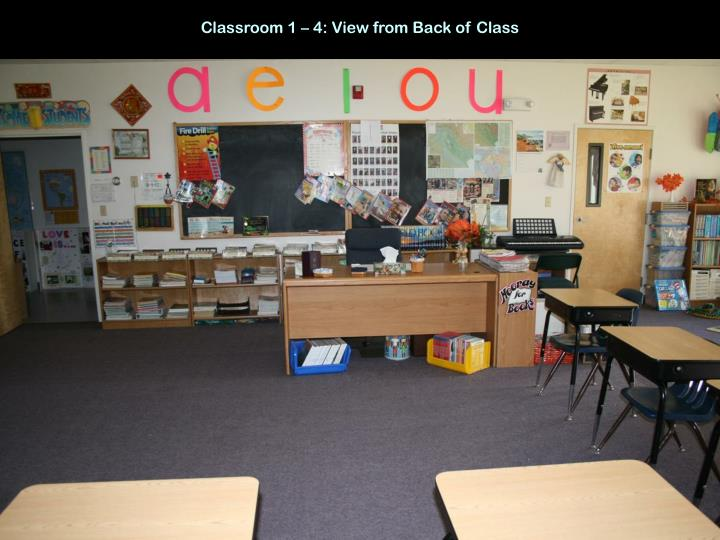 Classroom 1 – 4: View from Back of Class