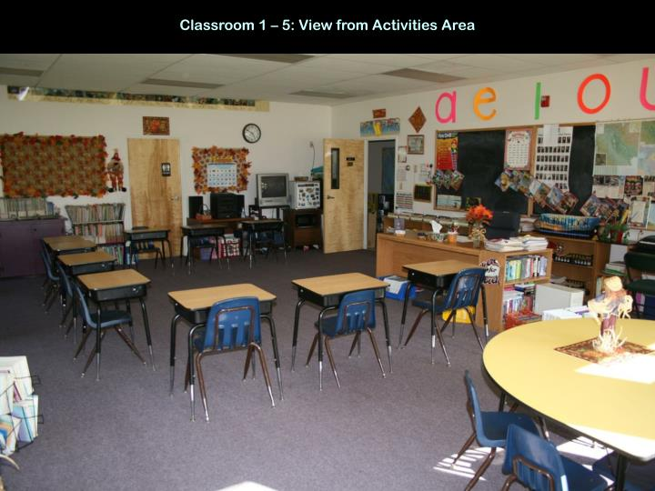 Classroom 1 – 5: View from Activities Area