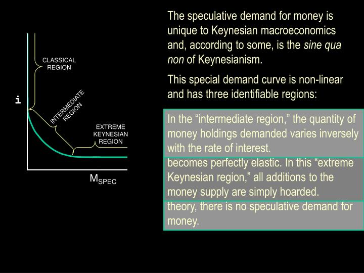 The speculative demand for money is unique to Keynesian macroeconomics and, according to some, is th...