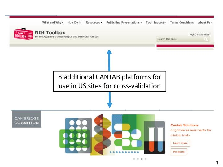 5 additional CANTAB platforms for use in US sites for cross-validation