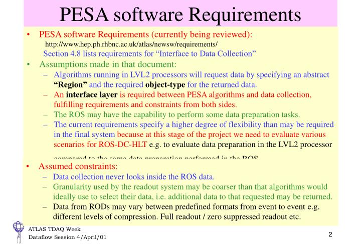 PESA software Requirements