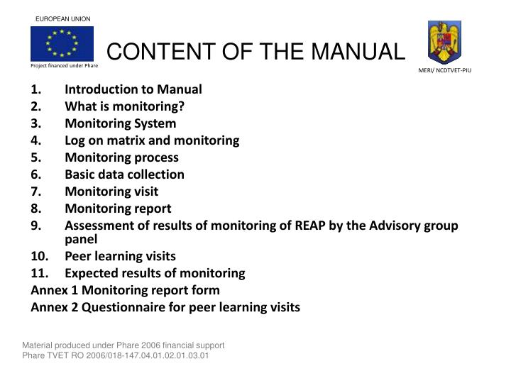 CONTENT OF THE MANUAL