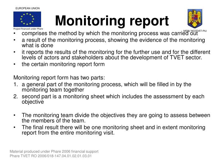 Monitoring report