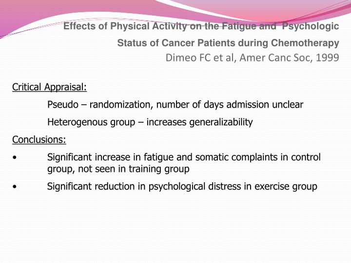 Effects of Physical Activity on the Fatigue and  Psychologic