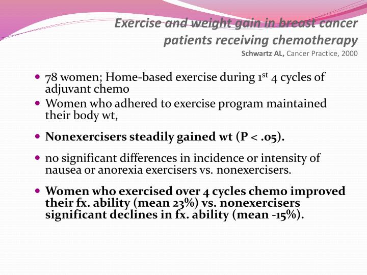 Exercise and weight gain in breast cancer