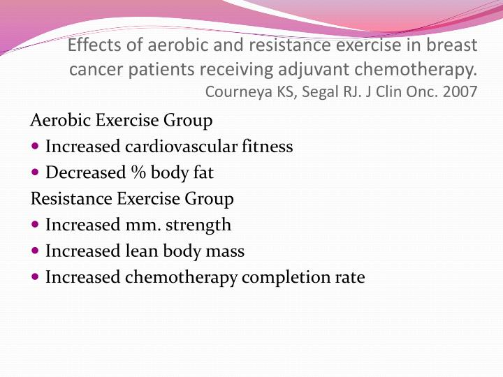 Effects of aerobic and resistance exercise in breast cancer patients receiving adjuvant chemotherapy.