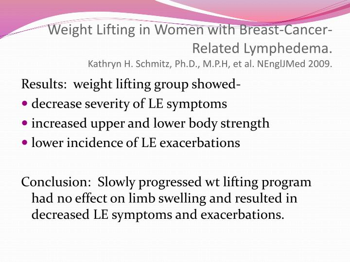 Weight Lifting in Women with Breast-Cancer-Related Lymphedema.