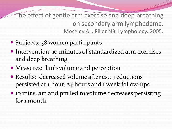The effect of gentle arm exercise and deep breathing on secondary arm lymphedema.