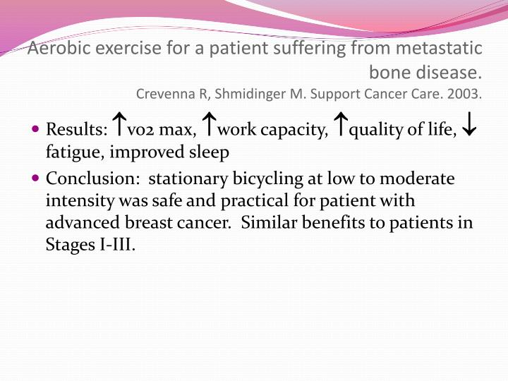 Aerobic exercise for a patient suffering from metastatic bone disease.