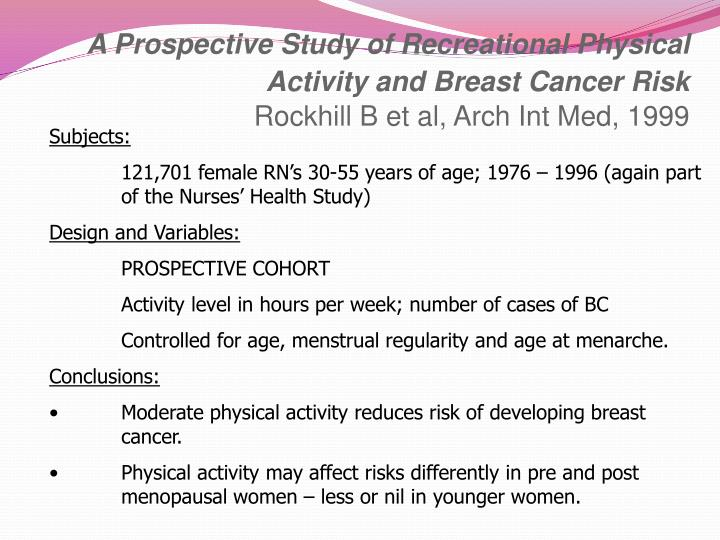 A Prospective Study of Recreational Physical Activity and Breast Cancer Risk