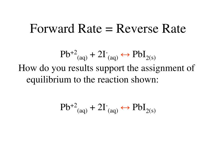 Forward Rate = Reverse Rate