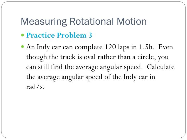 Measuring Rotational Motion