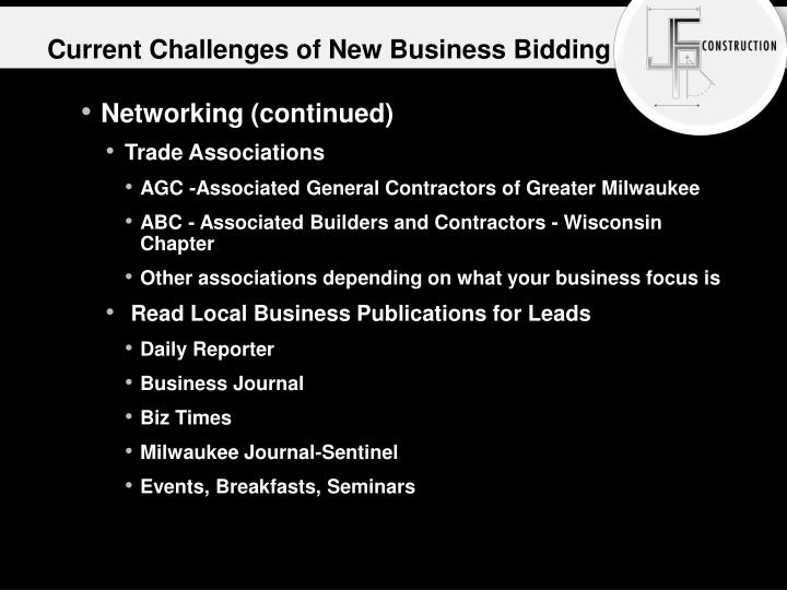 Current Challenges of New Business Bidding