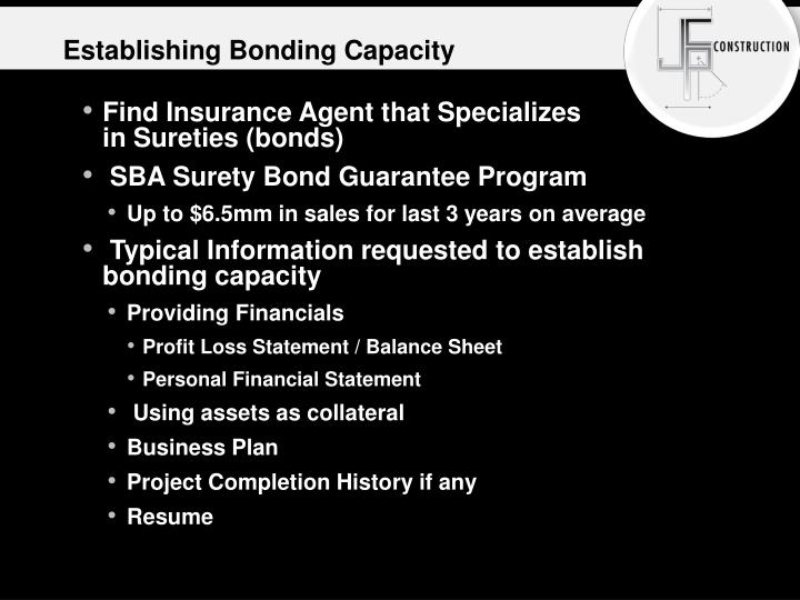 Establishing Bonding Capacity
