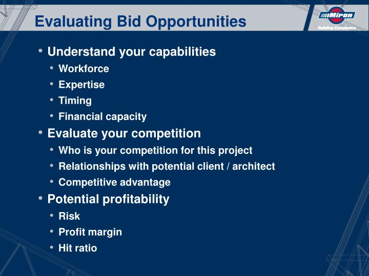 Evaluating Bid Opportunities