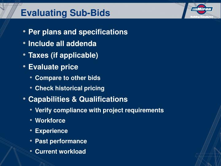 Evaluating Sub-Bids