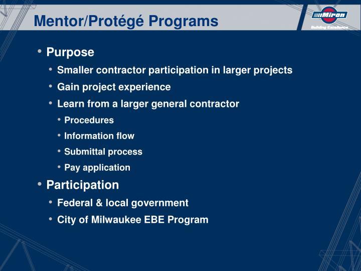 Mentor/Protégé Programs